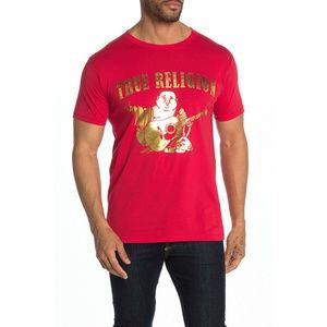 True Religion Men's Metallic Buddha Logo Tee
